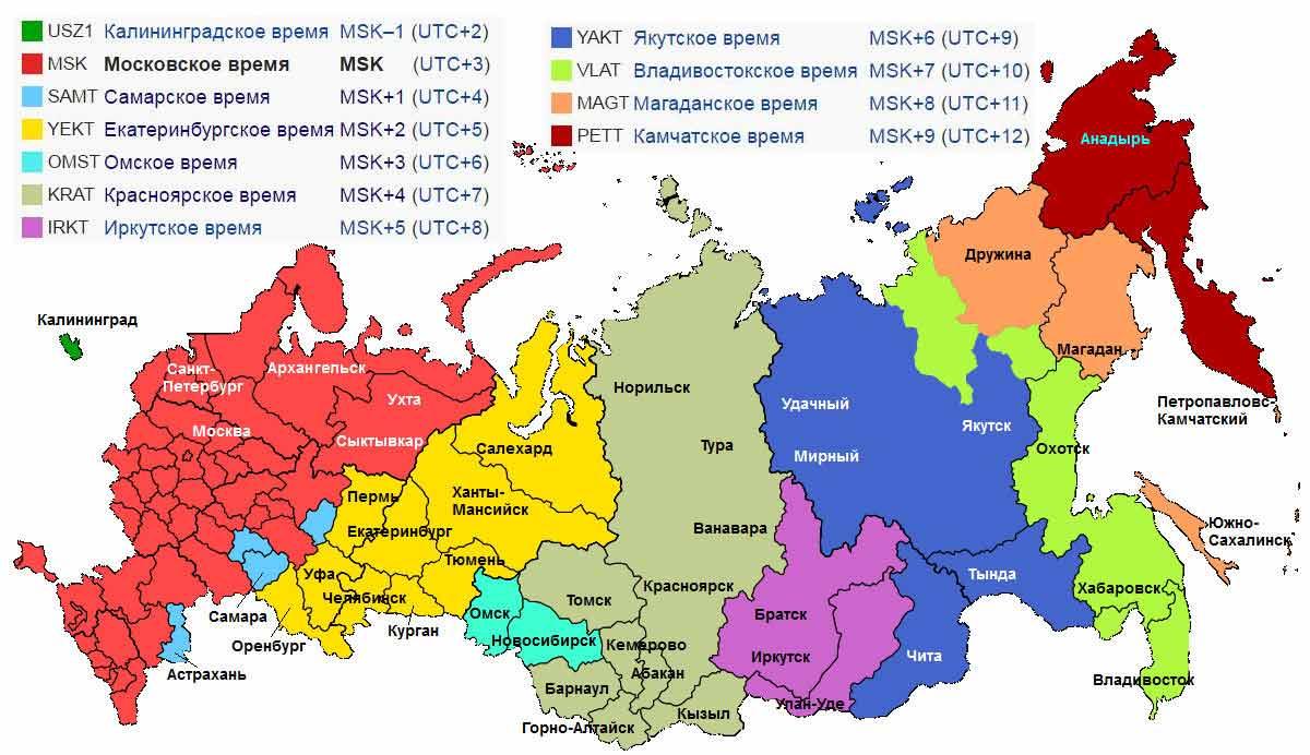 В россии теперь 9 часовых зон, а было 11